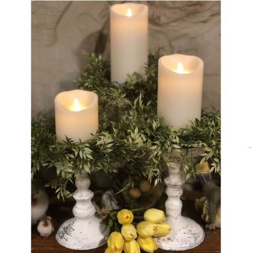 Chippy Farmhouse Creamy White Candle Holder 9""