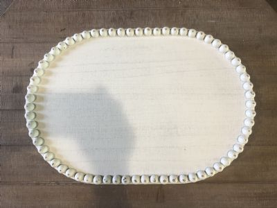 Tray (Oval Wood Tray W/Bead Trim Large)