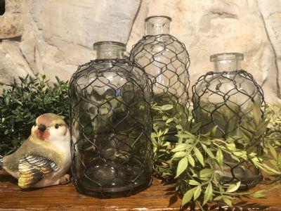 Jar (Set/3 Glass W/Chicken Wire)