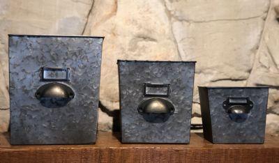 Planters (Set/3 Galvanized File Boxes)