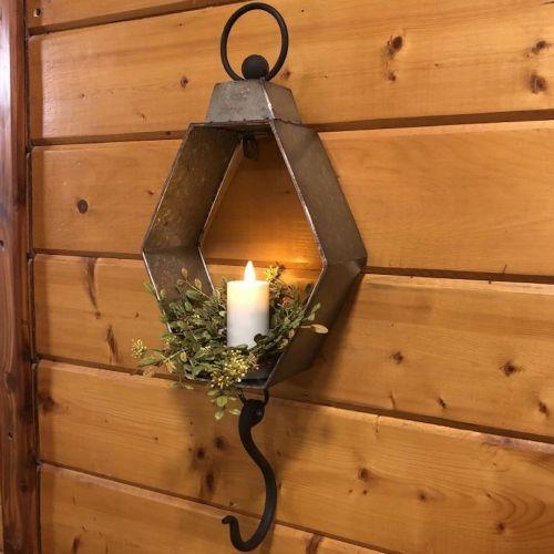 Lantern Galvanized Wall Lantern W/Hook