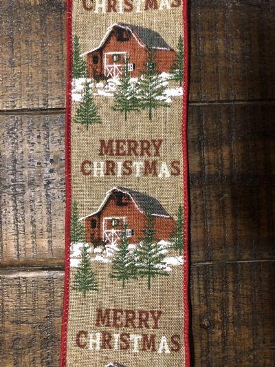 Ribbon Natural Linen/Christmas Barn 2.5