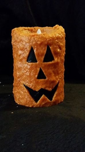 "Rustic Country Jack O' Lantern Wax Pillar 4"" X 5"""