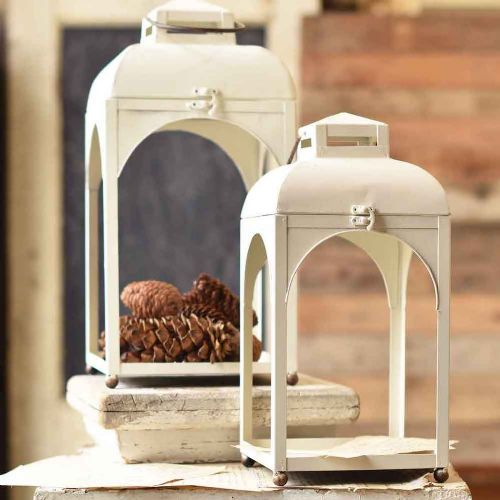 Lantern Creamy White Metal | 2 Sizes