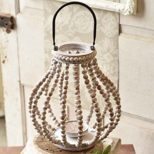 Lantern Beaded White-Washed | 13.75