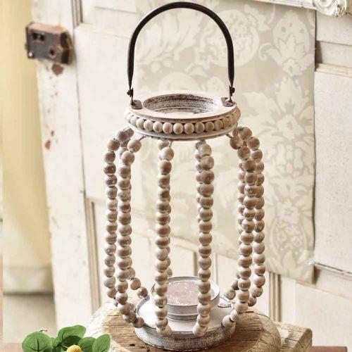 Lantern Beaded White-Washed | 12.5
