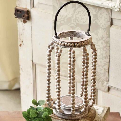 Lantern Beaded White-Washed | 14