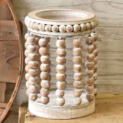 Lantern Beaded White-Washed | 7
