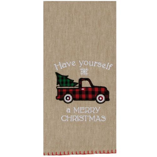 Merry Christmas Truck Tree Towel
