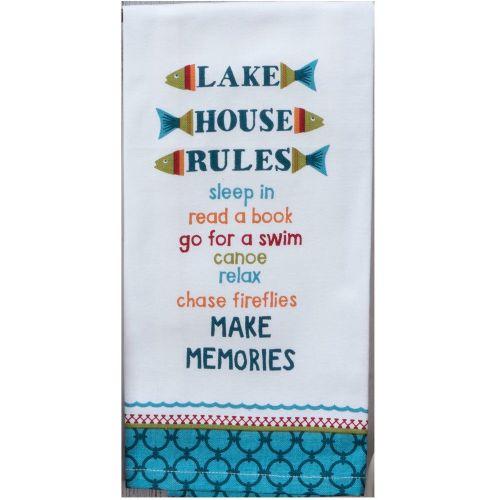 KT Lake House Rules Tea Towel