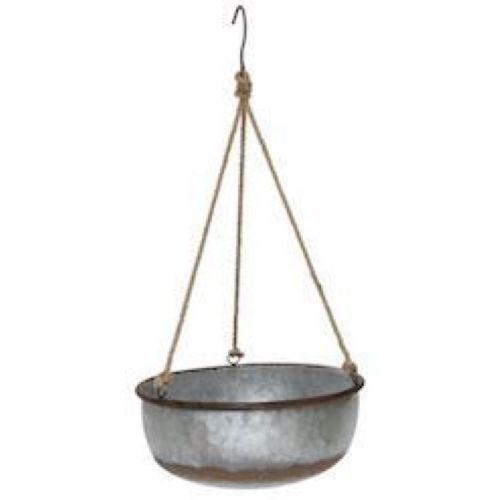 Hanging Planter Galvanized Bowl Large