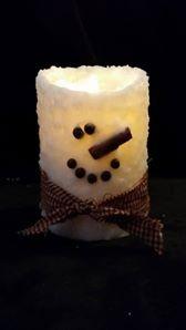 Rustic Country Snowman Wax Pillar 4