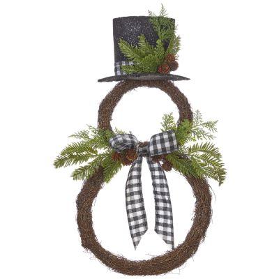 Buffalo Check Snowman Wreath