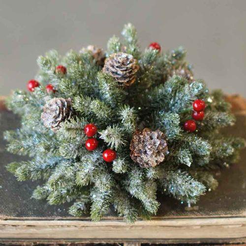 Half Sphere Icy Mini Pine W/ Berry 7