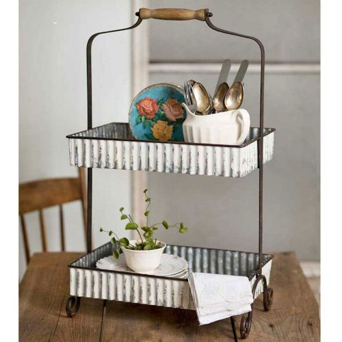 Tray Whitewash 2 Tier Tabletop Caddy