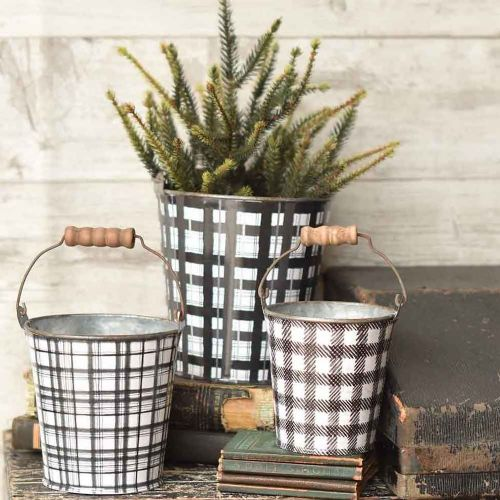 black and white plaid buckets