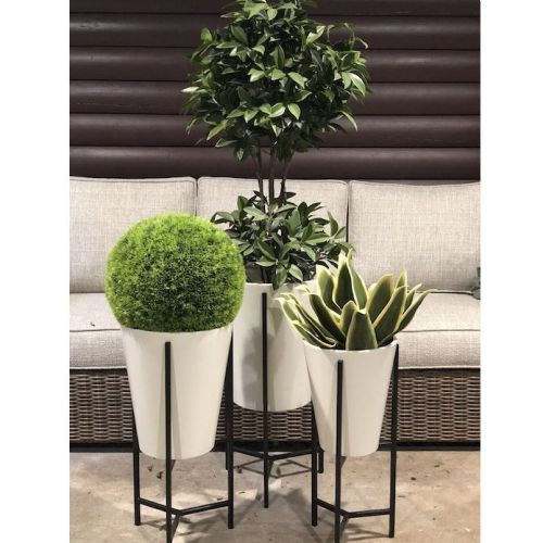 black and white planter