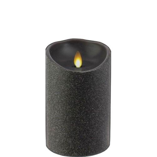 Glitter Black Wax Pillar Fireless Candle 3.5
