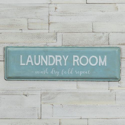blue laundry room sign