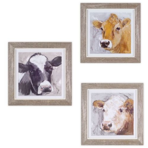"""Cow"" Wall Decor 3/Assorted  10"" x 10"""