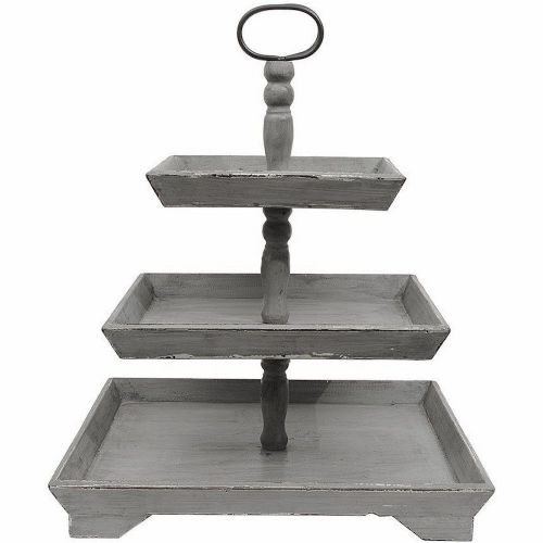 Tray 3 Tier Wood | Grey