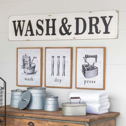 """Wash & Dry"" Metal Sign"