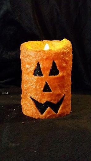 Rustic Country Jack O' Lantern Wax Pillar 4