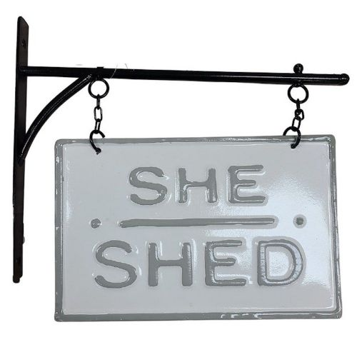 """She Shed"" Sign with Bracket"