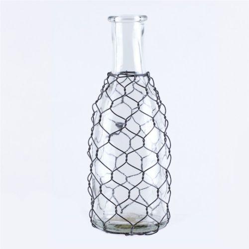 Vase Glass Long Neck W/Chicken Wire