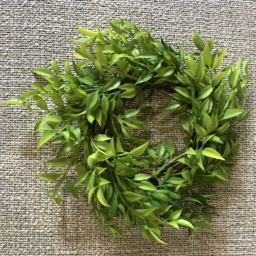 Candle Ring Mini Ruscus Spring Green 3