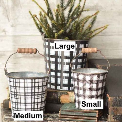 plaid buckets with size labels