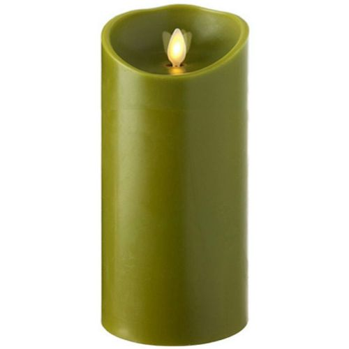Wax Pillar Flameless Candle with Timer Sage 3.5