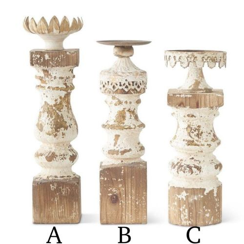 Vintage Distressed Wood Candle Holders