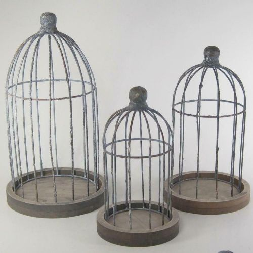 Metal Wire Birdcages On Wood Base Set/3