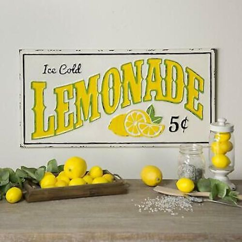 """Ice Cold Lemonade"" Metal Sign"