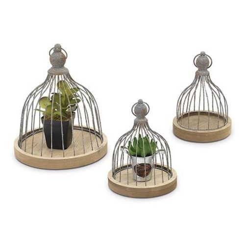Cloche Set/3 (Wire & Wood)