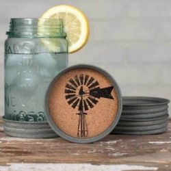 Mason Jar Lid Coaster Windmill