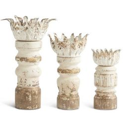 Distressed Candle Holders with Metal Leaf Set/3