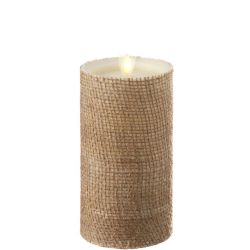 Burlap Wrapped Fireless Candle 3.5