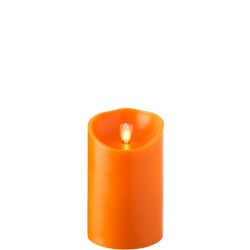 Wax Pillar Fireless Candle With Timer Orange 3.5