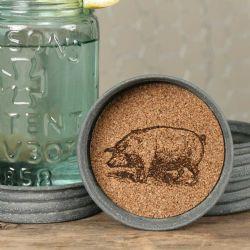 Mason Jar Lid Coaster Pig