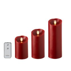 Wax Pillar Candle Set/3 Red (3