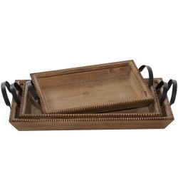 Tray Wood W/ Beaded Trim | 3 Sizes