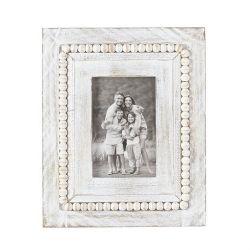 Frame White Washed Rectangle Beaded