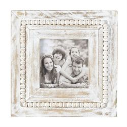 Frame White Washed Square Beaded