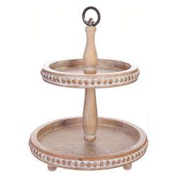 Tray 2 Tier Wood Beaded (Round Handle)