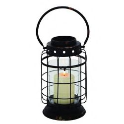 Lantern Black Metal W/ Glass Cylinder