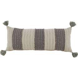 Pillow-Gray/Cream Tassels