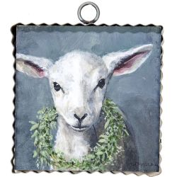 Mini Lamb with Wreath Print