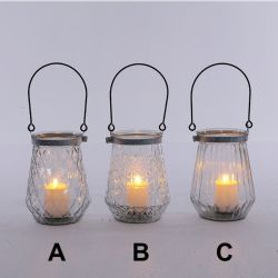 Glass/Metal Candle Holder (3 Styles)